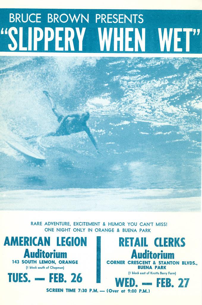 SlipperyWhenWet2 Bruce Brown vintage original 1958 Surfing Movie Poster SLIPPERY WHEN WET.